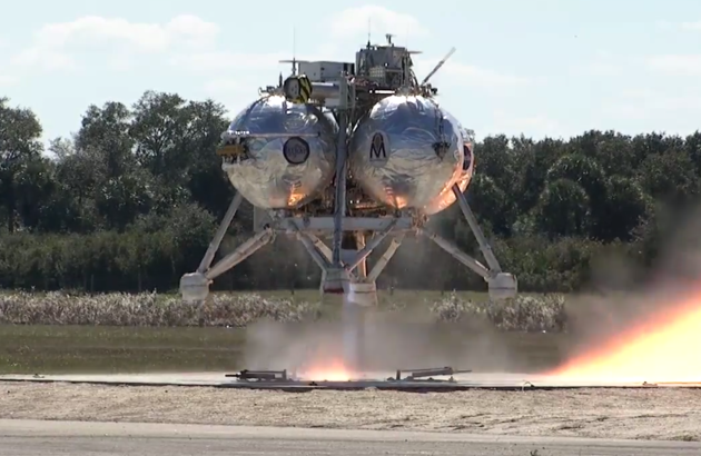 Morpheus lander in flight