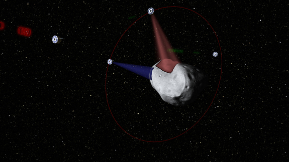Probes scanning the surface of an asteroid