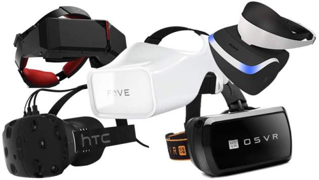 Array of current VR headsets